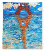 Eiffel Tower Abstract Impression Fleece Blanket
