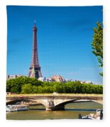 Eiffel Tower And Bridge On Seine River In Paris France Fleece Blanket