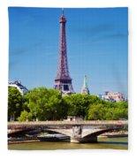 Eiffel Tower And Bridge On Seine River In Paris Fleece Blanket