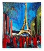 Eiffel Tower And The Red Visitors Fleece Blanket