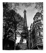 Eiffel Tower Black And White Fleece Blanket