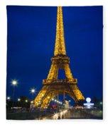 Eiffel Tower By Night Fleece Blanket
