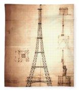 Eiffel Tower Design Fleece Blanket
