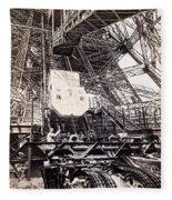 Eiffel Tower Elevator Shop C. 1888 Fleece Blanket