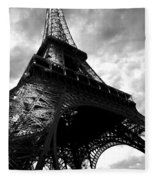 Eiffel Tower In Black And White. Ominous Sky Overhead Fleece Blanket