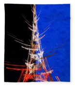 Eiffel Tower In Red On Blue  Abstract  Fleece Blanket