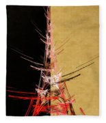Eiffel Tower In Red On Gold  Abstract  Fleece Blanket