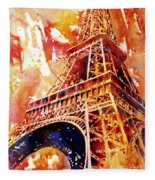 Eiffel Tower In Red Fleece Blanket