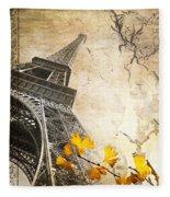 Eiffel Tower Vintage Collage Fleece Blanket