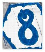 Eight Blue Tile Fleece Blanket