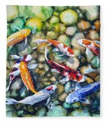 Eight Koi Fish Playing With Bubbles Fleece Blanket