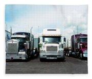 Eighteen Wheeler Vehicles On The Road Fleece Blanket