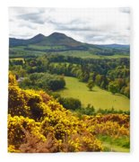 Eildon Hill - Three Peaks And A Valley Fleece Blanket