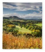 Eildon Hills In Autumn Fleece Blanket