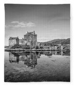 Eilean Donan Castle Black And White Fleece Blanket