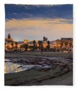 El Rompidillo Beach Panorama Cadiz Spain Fleece Blanket