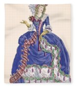 Elaborate Court Dress In Electric Blue Fleece Blanket