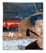 Elderly Vietnamese Woman Wearing A Conical Hat Altered Version Fleece Blanket
