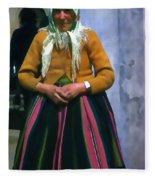 Elderly Woman Stylized Digital Art Fleece Blanket