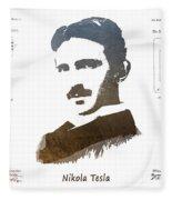 electric generator patent art Nikola Tesla Fleece Blanket