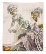 Elegant Lady Having Her Feet Washed Fleece Blanket