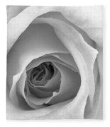 Elegant Rose In Black And White Fleece Blanket
