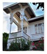 Elegant White House And Balcony Fleece Blanket