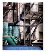 Elemental City - Fire Escape Graffiti Brownstone Fleece Blanket