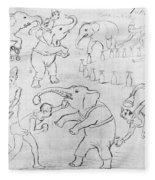 Elephant Acts, 1880s Fleece Blanket