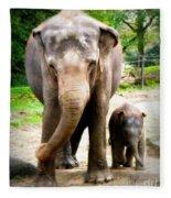 Elephant Baby Olli With Mommy Fleece Blanket