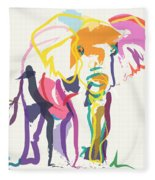 Elephant In Color Ecru Fleece Blanket