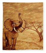 Elephant Majesty Original Coffee Painting Fleece Blanket