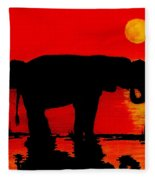 Elephant Silhouette African Sunset Fleece Blanket