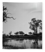 Elephant Skull On Riverbank, Okavango Fleece Blanket