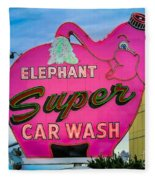 Elephant Super Car Wash Fleece Blanket