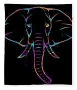 Elephant Watercolors - Black Fleece Blanket