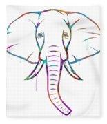 Elephant Watercolors - White Background Fleece Blanket