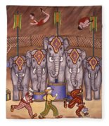 Elephants And Acrobats Fleece Blanket