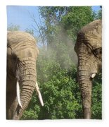 Elephants In The Sand Fleece Blanket