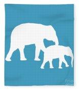 Elephants In White And Turquoise Fleece Blanket