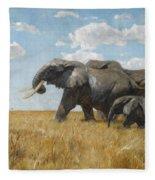 Elephants On The Move Fleece Blanket