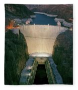 Elevated View At Dusk Of Hoover Dam Fleece Blanket