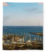 Elevated View Of Boats At A Harbor Fleece Blanket