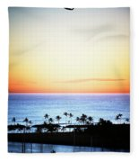 Elevated View Of The Sunset Fleece Blanket