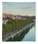 Elevated View Of The Zubizuri Bridge Fleece Blanket