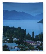 Elevated View Of Town At Dawn Fleece Blanket