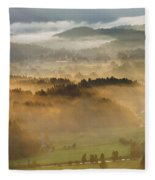Elevated View Of Trees On Hill Fleece Blanket