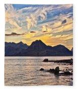 Elgol Beach At Sunset Fleece Blanket