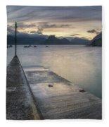 Elgol Pier And Boats With Cuillin Fleece Blanket