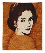 Elizabeth Taylor Original Coffee Painting On Paper Fleece Blanket